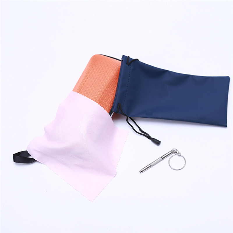 Teether Glasses Case Upscale Large Capacity Case Zipper Plaid Glasses Cloth Repair A Screwdriver Glasses