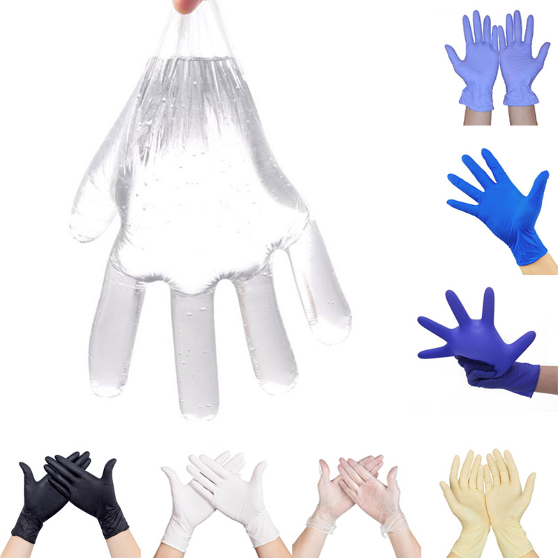 100pcs Disposable Latex Gloves Protect Medical Anti-virus PE Film Transparent Plastic Gloves Household Cleaning Laboratory LS014