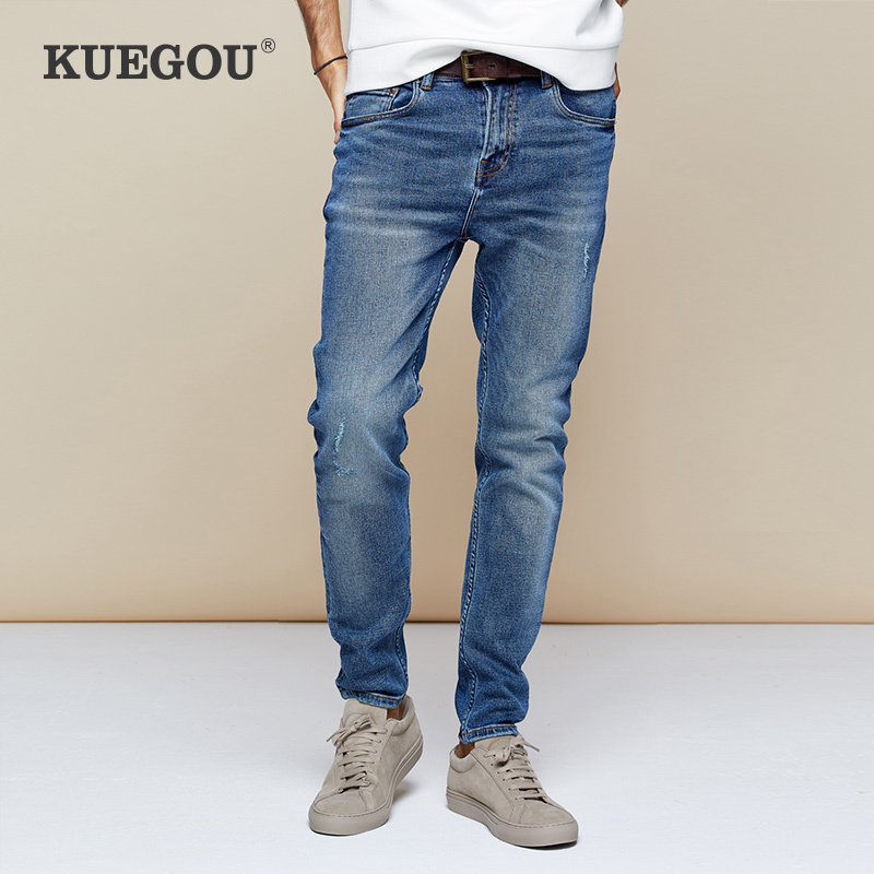 KUEGOU 2019 Autumn Cotton Blue Distressed Skinny Jeans Men Streetwear Brand Slim Fit Denim Pants For Male Stretch Trousers 2958