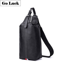 купить GO-LUCK Multi-functions Genuine Leather Casual Chest Sling Pack Men's Crossbody Shoulder Bag Men Messenger Bags Male Handbag дешево