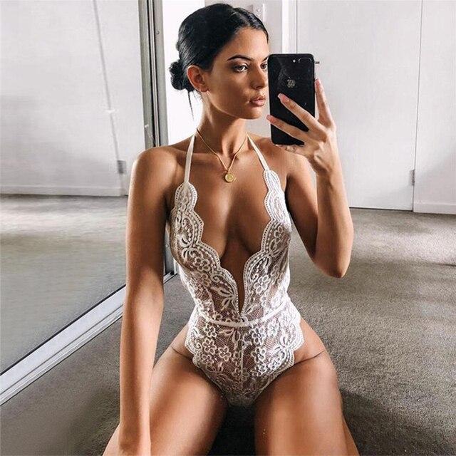 2020 Sexy Bodysuit Backless Jumpsuits Women Deep V Sheer Bodysuits Female Body Hot Sexy Teddies Transparent Halter Lace Bodysuit 6