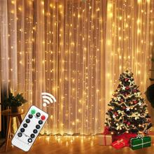 3M LED Fairy Lights Garland Curtain Lamp Remote Control USB String Lights garland on the window Christmas Decorations for Home cheap LBTFA CN(Origin) 1 year Silver wire Button Cell LED Bulbs None FESTOON 300cm 1-5m White MULTI Warm White 200 Flashing Dimmable