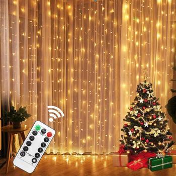 3M bajkowe oświetlenie LED Garland kurtyna lampa zdalnie sterowana łańcuchy świetlne USB garland na oknie ozdoby choinkowe dla domu tanie i dobre opinie LBTFA CN (pochodzenie) ROHS 1 year CHRISTMAS Silver wire Bateria pastylkowa Żarówki LED Brak DO DEKORACJI 300cm 1-5 m
