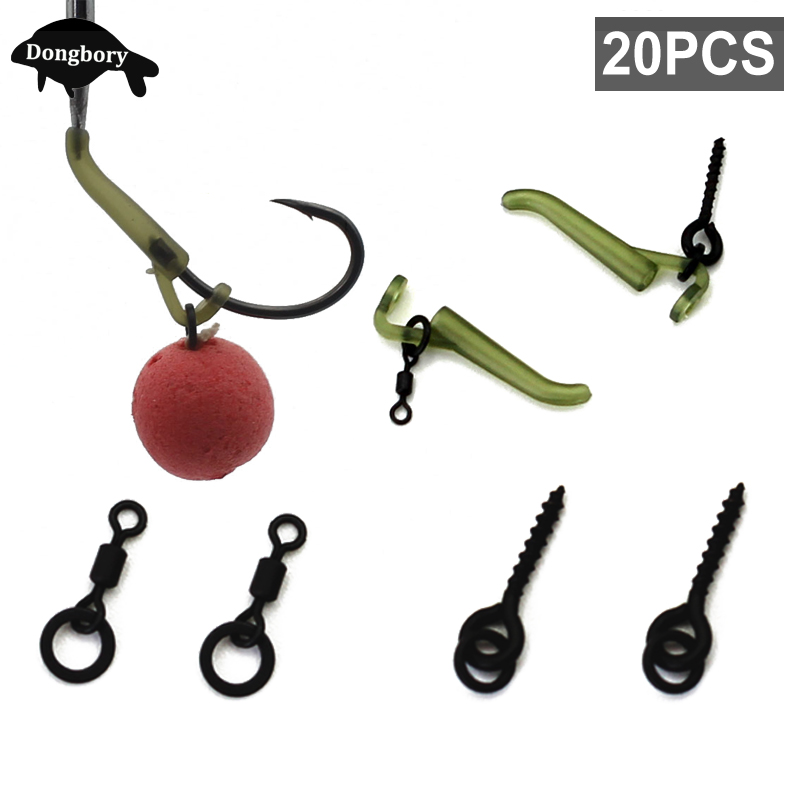 20PCS Carp Fishing Accessories Carp Boilies Bait Screw Hook Line Aligner Micro Ring Swivel Fishing Tackle For Hair Chod Rig Make