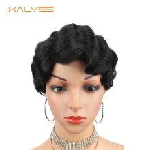 Kalyss 6 Inches Short Synthetic Lace Front Wigs Curved Part