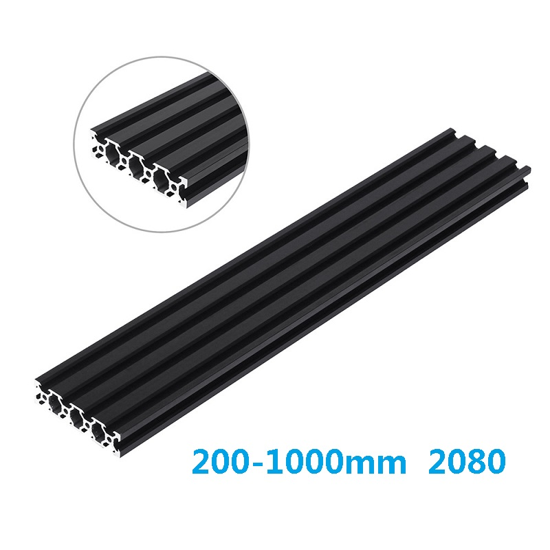 Black 200-1000mm <font><b>2080</b></font> V-Slot <font><b>Aluminum</b></font> <font><b>Profile</b></font> <font><b>Extrusion</b></font> Frame for CNC Laser Engraving Machine 3D Printer Woodworking DIY image