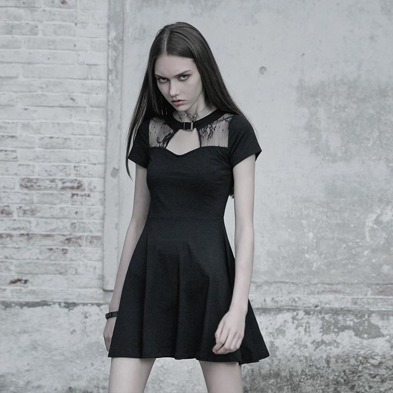 Punk Rave femmes Goth Peekaboo décolleté petite robe PQ605 asie taille S-L