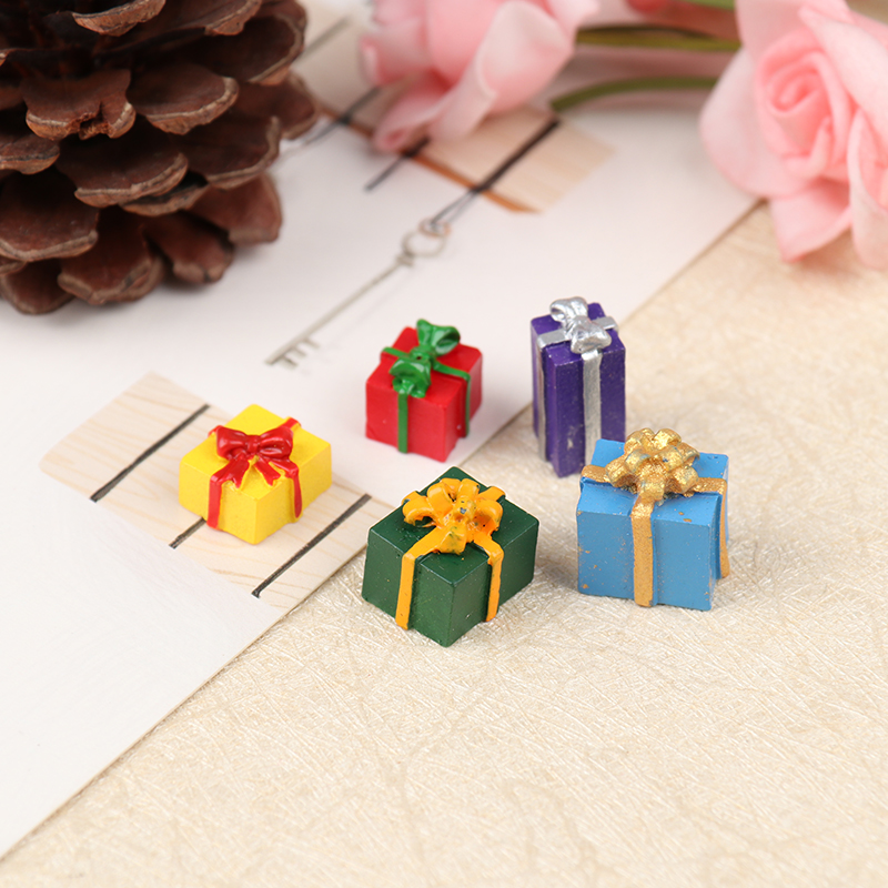 New 5PCS Dollhouse Miniature 1 12 Scale Christmas Gift Box Pretend Play Mini Doll House Furniture