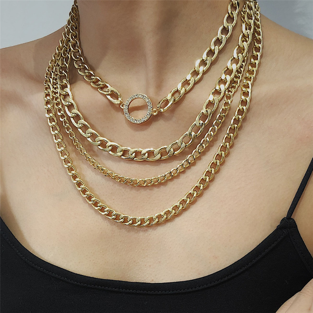 Vintage Multilayer Thick Chain Choker Necklace for Women Punk Hip Hop Crystal Round Circle Bib Statement Jewelry