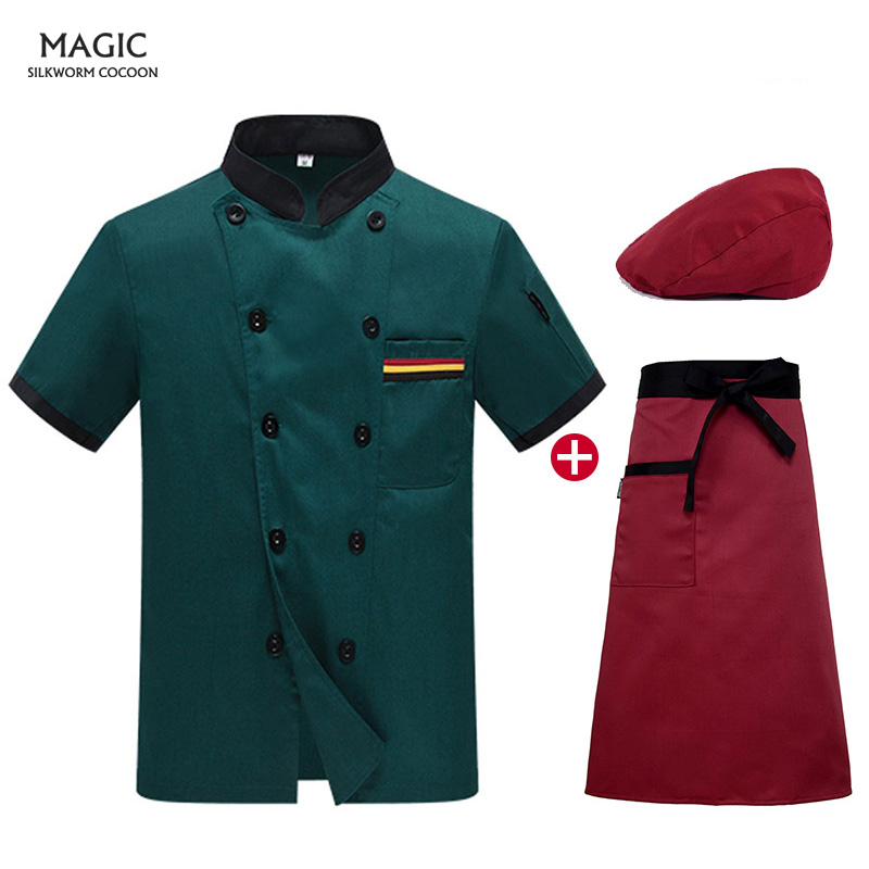 Chinese Restaurant Chef Uniforms Hot Sale Wholesale Women Men Short-sleeve Double Breasted Kitchen Bakery Sushi Chef Jacket Hats