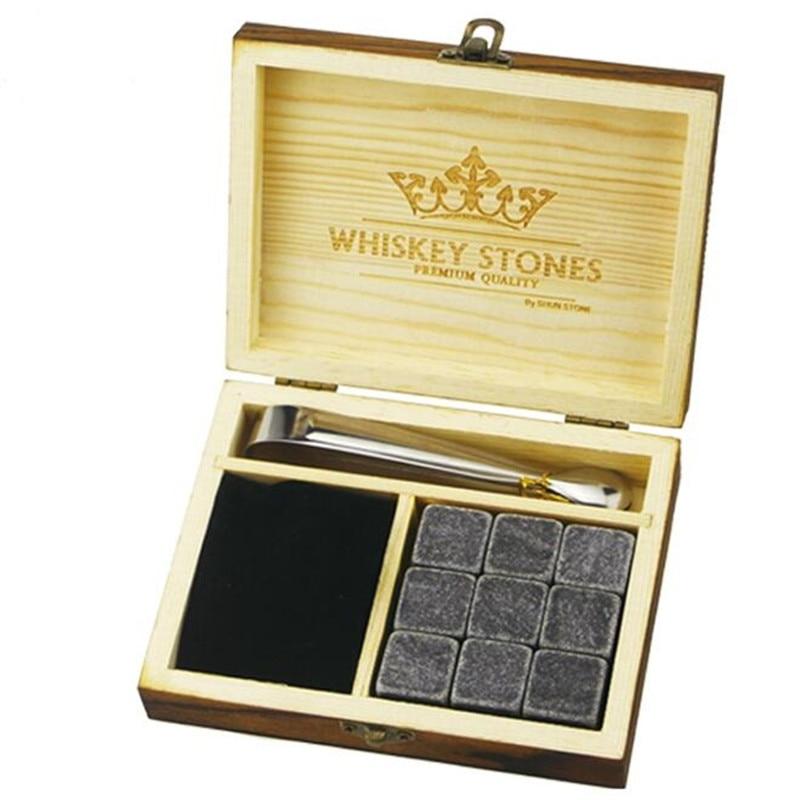 9 יח'\חבילה ויסקי אבן עם עץ תיבת & קטיפה תיק ויסקי קירור סלעים אבנים קוביית אבן חג המולד מתנה