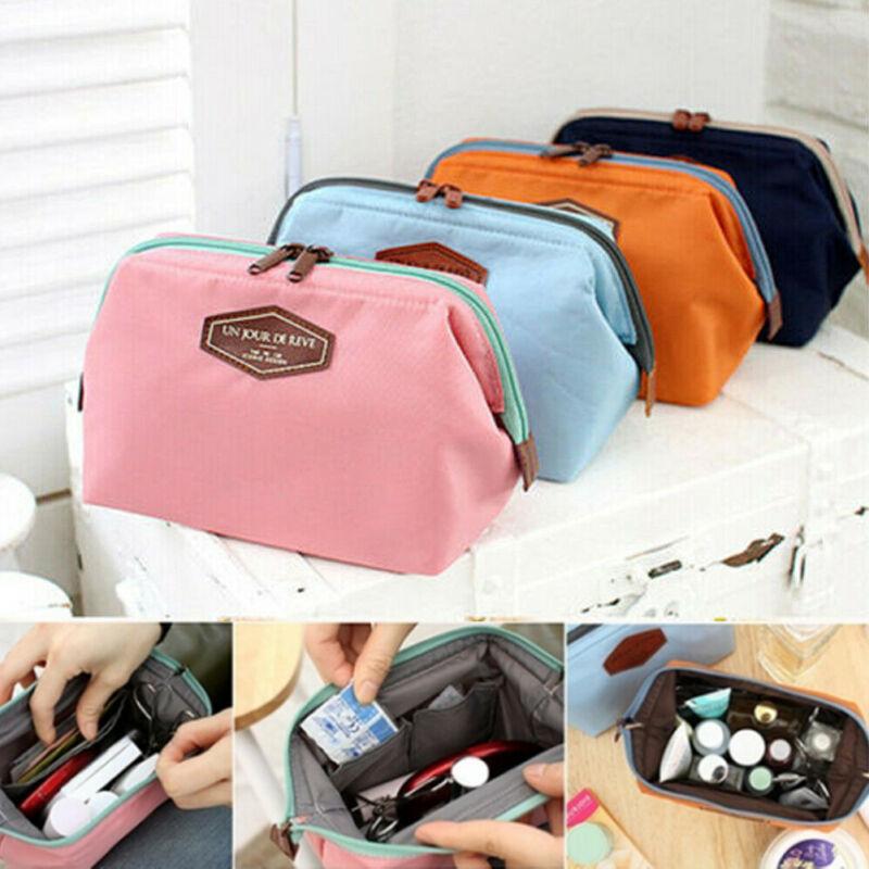 Women Travel Toiletry Make Up Cosmetic Pouch Bag Clutch Handbag Purses Case Cosmetic Makeup Bag Organizer