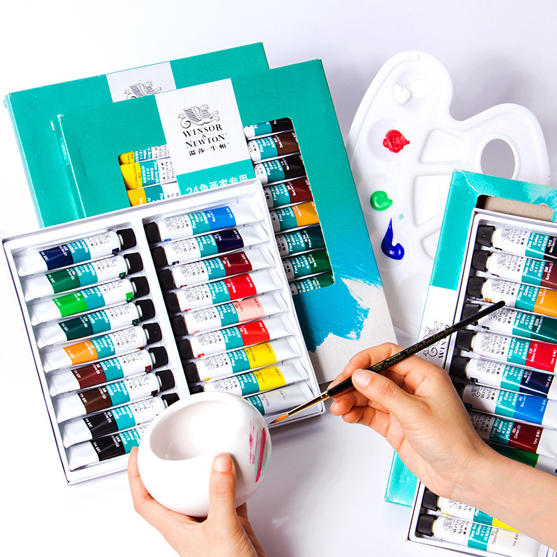 10ML/tube WINSOR & NEWTON Acrylic Paints Set Hand-painted Wall Painting Textile Paint Colored Art Supplies AOA020