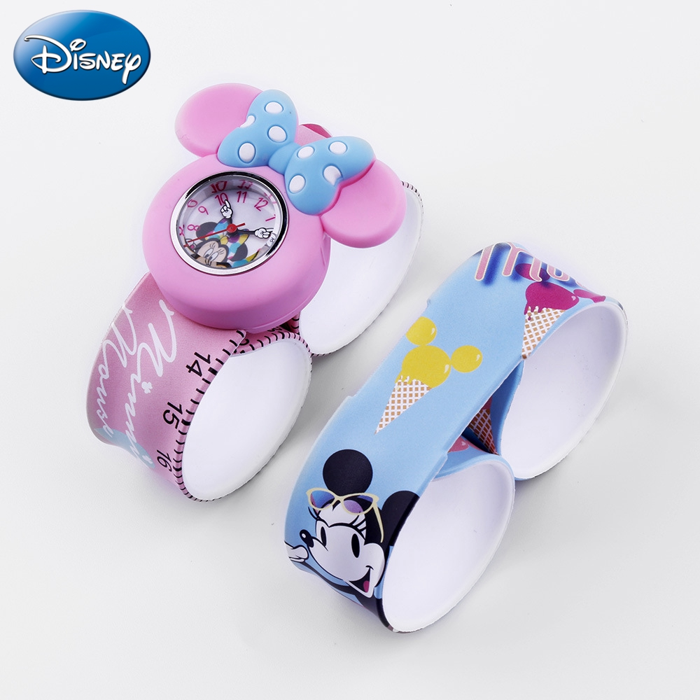 Disney Slap Watch Kids Cartoon Lovely Minnie Quartz Watches Silicone Stainless Steel Waterproof Clock Children Boys Girls Gift