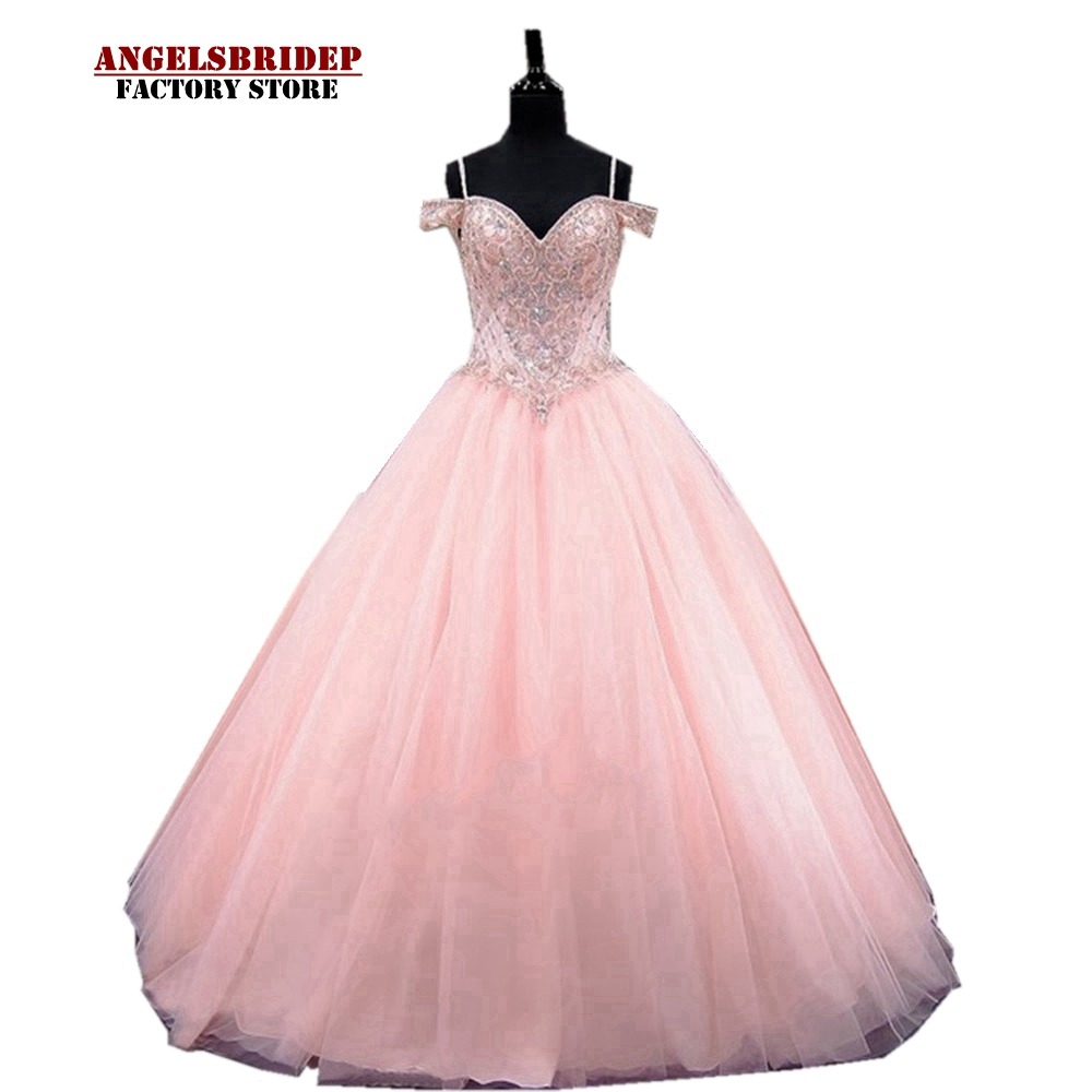 US $12.12 12% OFFPink Luxury Ball Gown Quinceanera Dresses Formal Plus  Size Sexy Party Dress Crystal Beaded Vestidos De Debutante Gowns