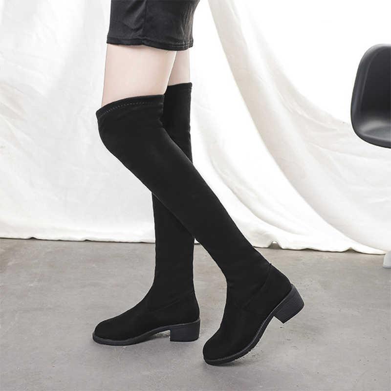 Kadınlar Diz Çizmeler Üzerinde Kadın Streç Süet Kalın Topuk Kayma Önyükleme Rahat Kısa Peluş Ayakkabı kadın ayakkabıları Kış Moda 2019