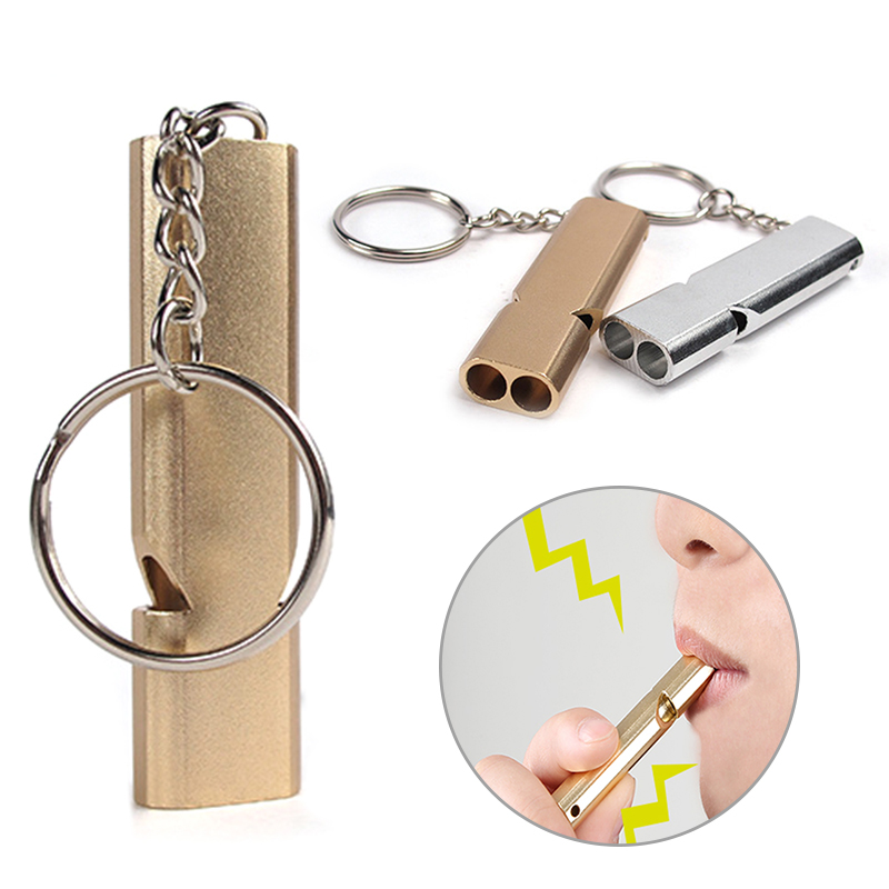 56*15*8mm Whistle Keychain Outdoors High Decibel Portable Stainless Steel Double Pipe Emergency Survival Whistle With Key Ring