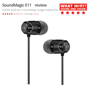 SoundMAGIC E11 Noise Isolating In-Ear Earphones Wired Earbuds Powerful Bass What's HiFi 5 stars award
