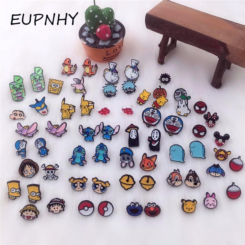 EUPNHY 1Pair Cartoon Stitch/Bear/Crayon Shinchan Animal Stud Earrings For Women Girls Fashion Small Earrings Jewelry Gift