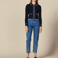Women Sweater 2019 Early Autumn Turn Down Collar Jacket Female Knit Slim Short Jacket Female