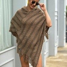ALLNeon Women's Cape Striped Tassel Hem Knitted Cloak Pullovers Winter Autumn Fashion Sweater Ladies Poncho with Hood Streetwear tassel hem striped top