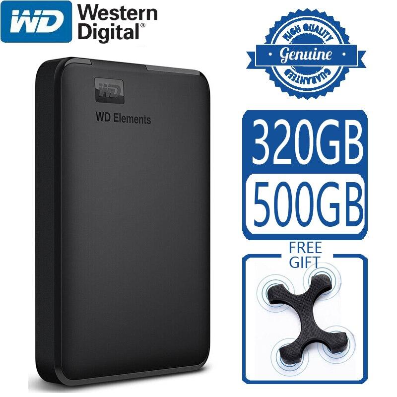 WD элементы 500 Гб портативный внешний жесткий диск USB 3,0 HD HDD емкостью SATA устройство хранения оригинальный для компьютера ПК PS4 TV