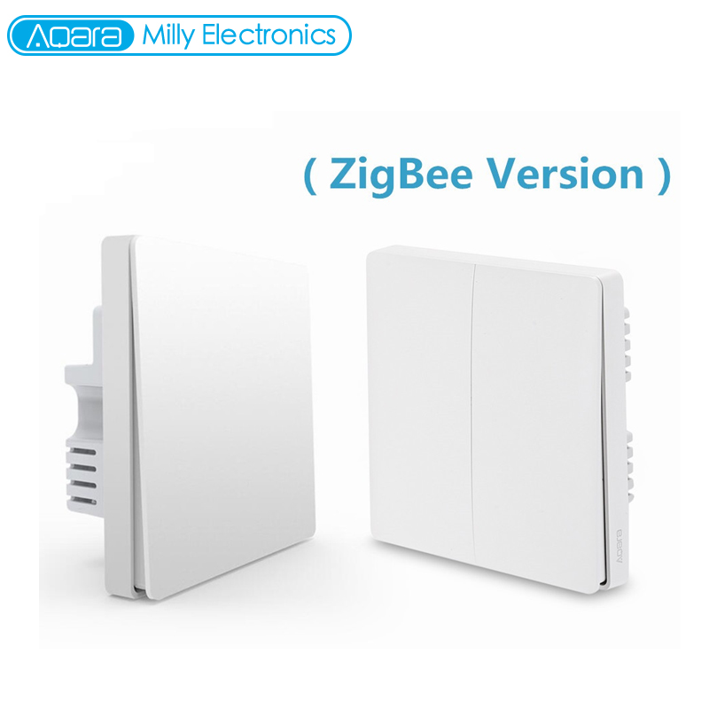 Original aqara qbkg04lm inteligente interruptor de parede luz zigbee versão dupla chave smartphone app dispositivo casa inteligente controle remoto