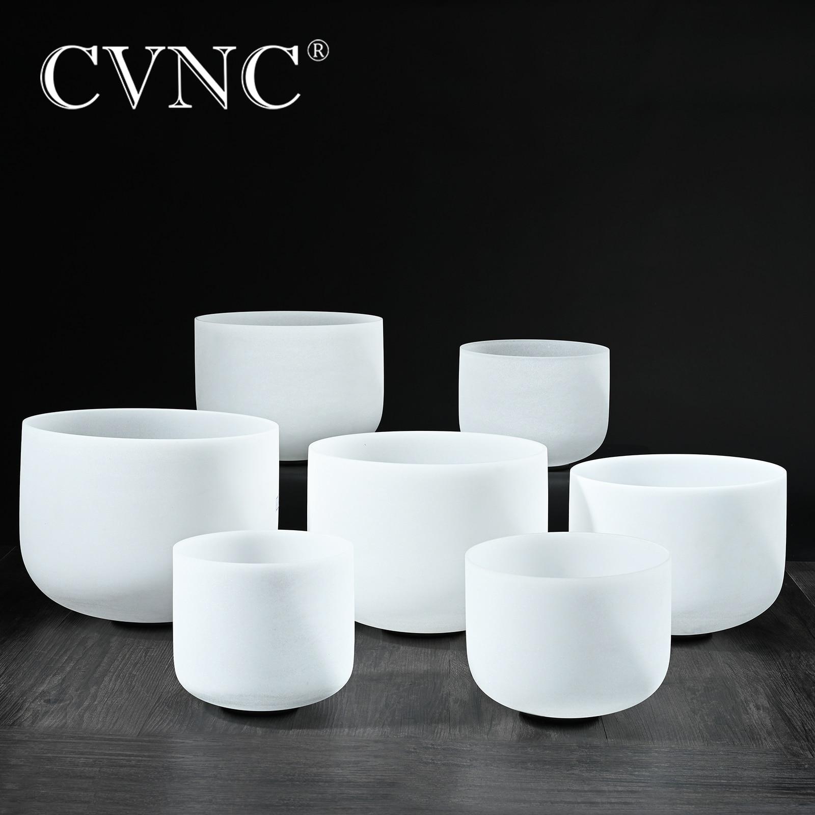 "CVNC  6""-12"" Note CDEFGAB Set Of  7PCS Chakra  Frosted Quartz Crystal Singing Bowl"