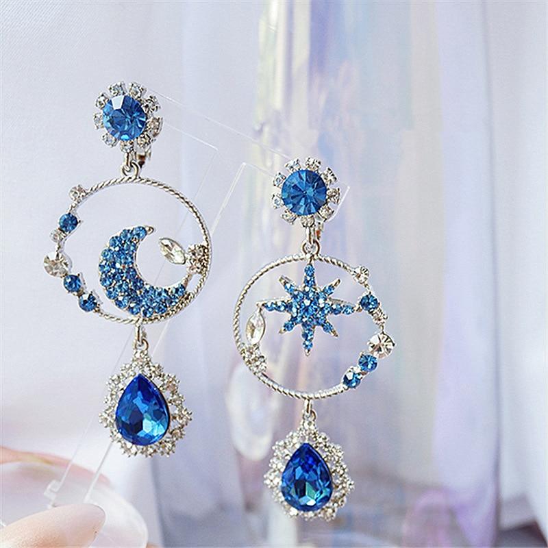 2020 корейские новые модные серьги с синими звездами и луной, темпераментные Длинные асимметричные серьги-капли воды, элегантные женские юве...