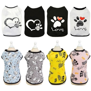 cartoon pet dog clothes cat dog t shirt clothing for dogs costume summer cat pet clothes dogs t shirt small pet shirt Vest Small Pet Shirt Cat Dog Clothes Paw Print Heart Love Design Cotton Dogs T Shirt Pet Puppy Summer Apparel Clothes Dog Coat