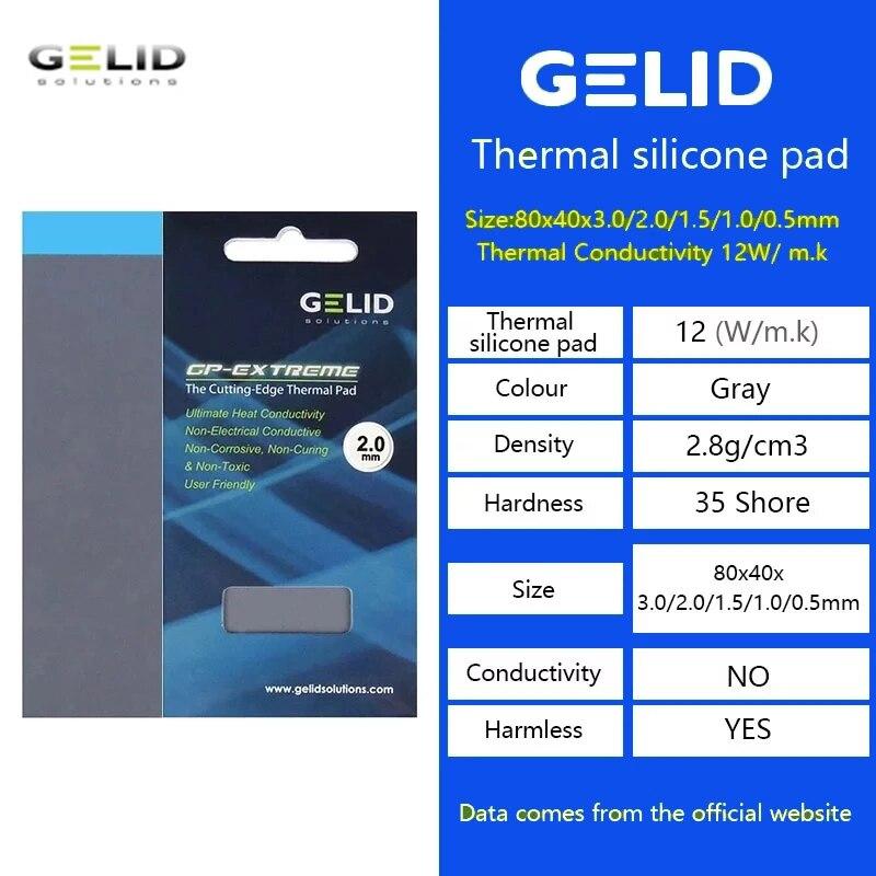 GELID GP-EXTREME 80X40X0.5 / 1.0 / 1.5 / 2.0 / 3.0mm PC CPU / GPU cooling pad North/ South bridge graphics Thermal Pad 12W/MK