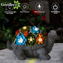 Goodeco Solar Garden Turtle Statue Outdoor Tortoise Figurine Decor with Succulent LED Light Jardin Yard Lawn Home Art Decoration
