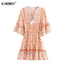 Vintage chic frauen hippie floral print quaste V ausschnitt Bohemian mini kleid Sommer damen flare hülse Boho kleider vestidos