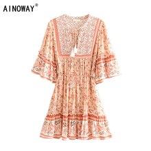 Đầm sang trọng nữ bộ thun in hoa tua rua Cổ Chữ V Bohemian Mini Mùa Hè Nữ Flare Tay Boho Áo vestidos