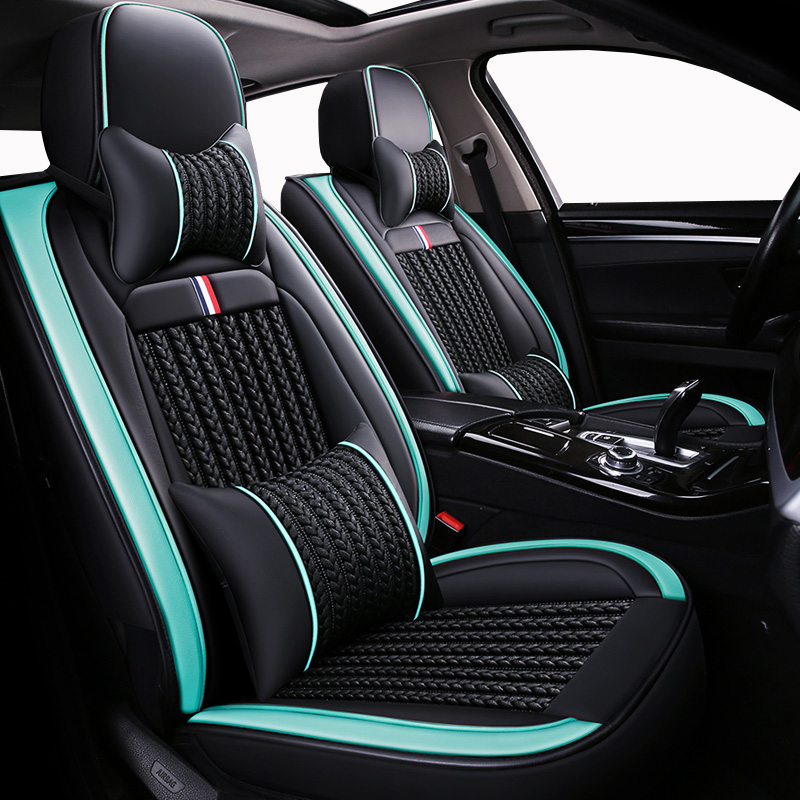 (Front+Rear) ice silk 5 seat covers auto For Bmw f11 f15 f20 f25 f30 f34 f48 gt m m4 serie 1 5 gt of 2018 2017 2016 2015 image