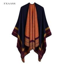 Fxaass новая осенняя/зимняя шаль модное Полосатое пончо женский