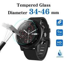 Película protetora de vidro temperado, película de vidro de todos os tamanhos para relógios redondos, 34, 35, 36, 38, 39, 40, 42, 45 e 46 mm protetor de tela para relógio inteligente