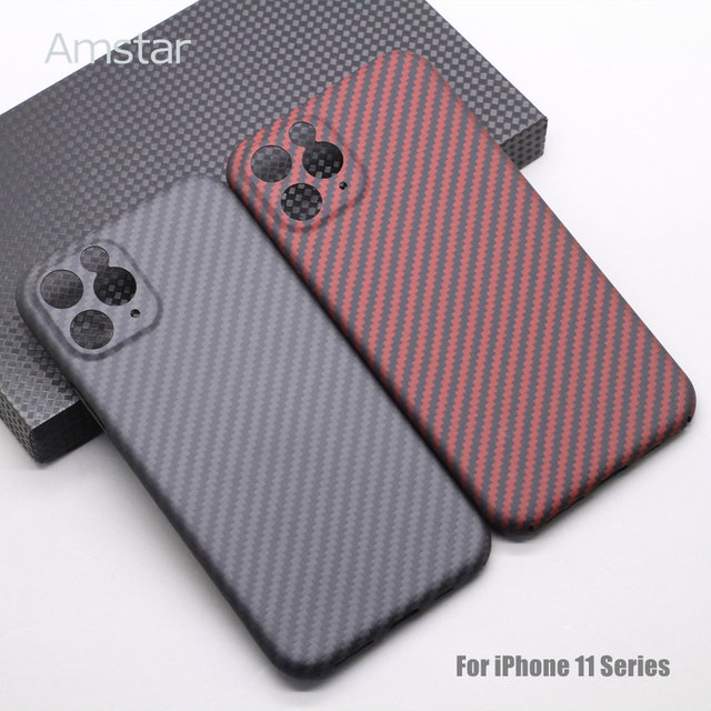 Amstar Pure Carbon Fiber Lens Protection Phone Case for iPhone 12 11 Pro Max 12 Mini Ultra Thin Carbon Fiber Hard Cover Cases 4