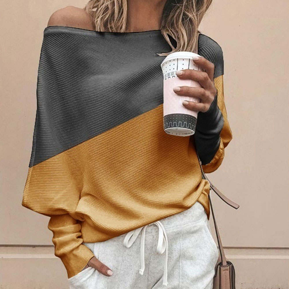 CALOFE Autumn Winter Contrast Color Women Knitted Blusa Pullovers Casual Long Sleeve Pull Femme Off Shoulder Knitted Tops Jumper