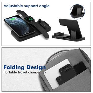 Image 5 - 15W Qi Fast Wireless Charger Stand For iPhone 12 11 XR XS 8 Apple Watch 4 in 1 Foldable Charging Station for Airpods Pro iWatch