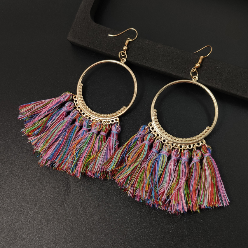 Women's earrings European and American explosions silk tassel earrings Bohemian big circle geometric earrings ladies jewelry 5