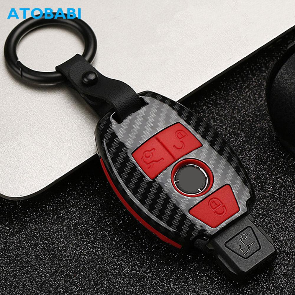 Carbon Car Key Case For Mercedes Benz E C G M R S Class 204 212 216 SLS SLK GLK CLK E400 Remote Fob Protector Cover Keychain Bag