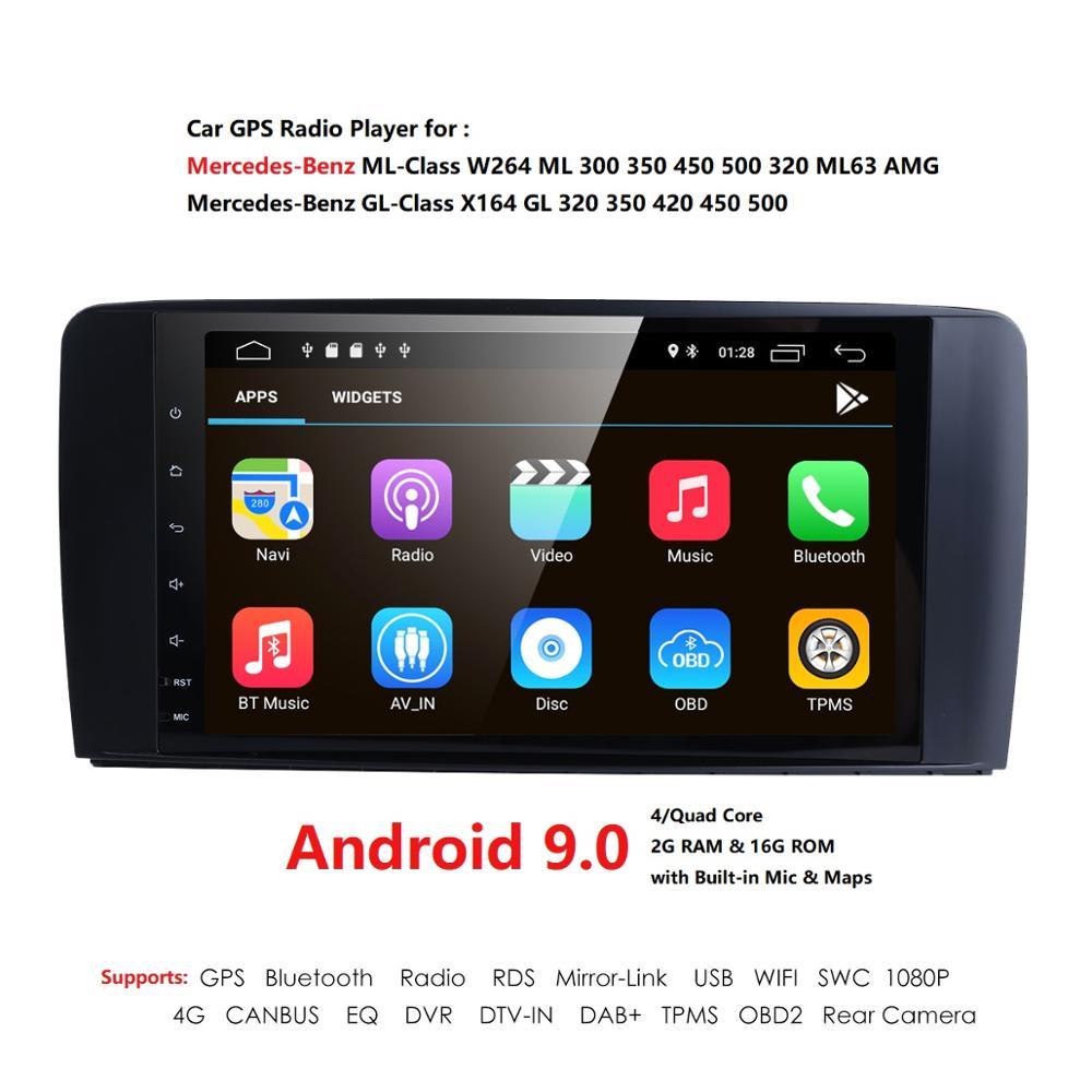 2 Din IPS lecteur radio de voiture pour Mercedes Benz ML classe W164 ML350 ML500 X164 GL320 GL500 GL350 GL450 4G peut bus DTV-IN DAB + TPMS