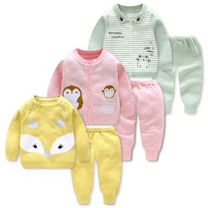Зимняя одежда для маленьких девочек, теплый свитер вязаный комплект одежды для малыша, комплекты одежды для детей Детский осенне-зимний ком...