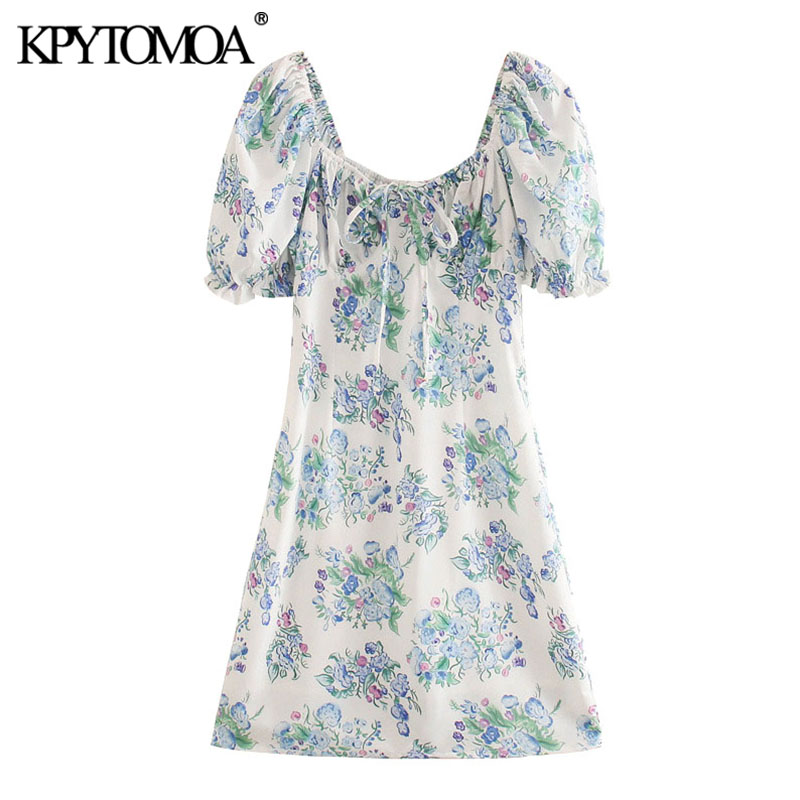 KPYTOMOA Women 2020 Chic Fashion Floral Print Lace-up Mini Dress Vintage Puff Sleeve Side Zipper Female Dresses Vestidos Mujer