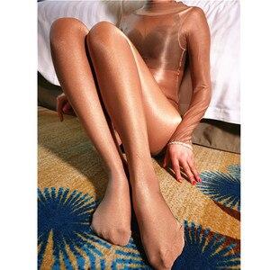 Image 3 - Bas de corps pour femme, Sexy, sans entrejambe, brillant, ouvert, à lhuile, tenue une pièce, 70D