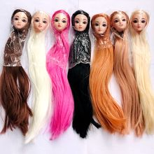 Детские игрушки, аксессуары для кукол, розовые, фиолетовые, белые, черные, коричневые волосы, 30 см, Кукольная голова для куклы Барби, подарок ...