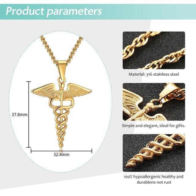 Symbole médical infirmière docteur animaux pendentifs collier acier inoxydable Caduceus Double ailes de serpent colliers pour hommes femmes bijoux