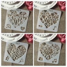 4 sztuk zestaw 13cm serce muzyka miłość DIY szablony malowanie kolorowanka szablony do albumu szablon do dekoracji tanie tanio TIAMECH Heart Stencils