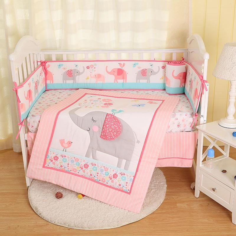 Baby Bedding Crib Set 7PCS Cute Pink Elephant Nursery Bedding Crib Cot Bedding Sets For Baby Girls And Boys